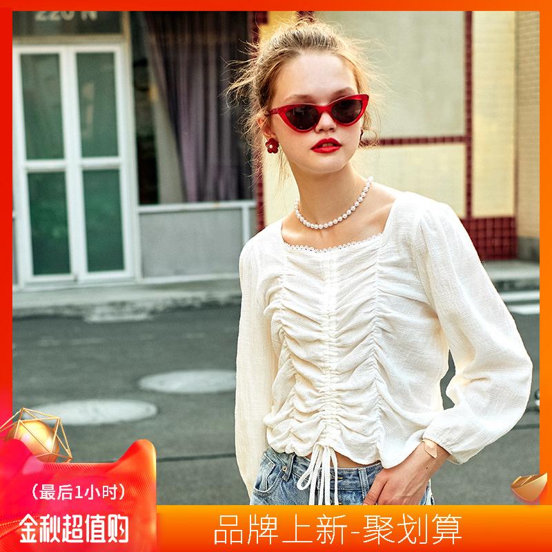 10月12日最新优惠linjou玲玖女设计感抽绳法式白衬衫