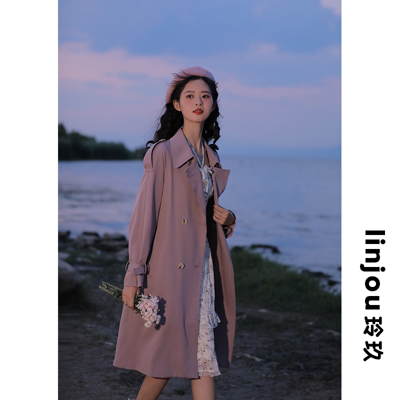 linjou玲玖过膝风衣女春秋2021新款小个子紫色英伦风中长款外套