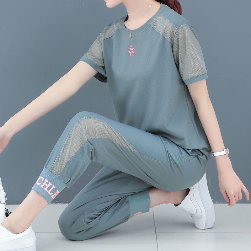 单/套装 运动套装女时尚韩版2020新款宽松大码镂空短袖束脚两件套