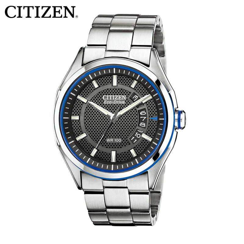西铁城光动能男表正品防水休闲时尚简约风格钢带男士手表AW1141