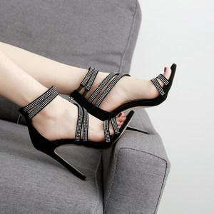 水鉆高跟鞋 歐美范超燙鉆繞帶細跟高跟涼鞋女鞋夜店鞋party shoes