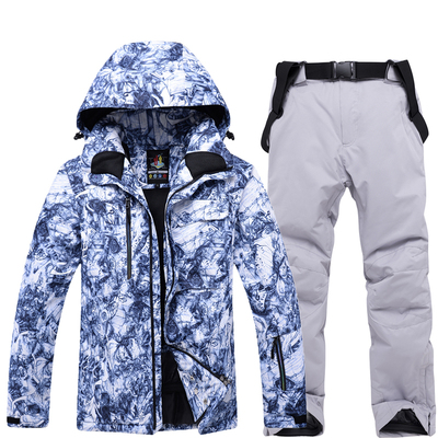 The new ski suit men's suit winter outdoor snowboard and double snowboard pants windproof, waterproof and warmth thickened