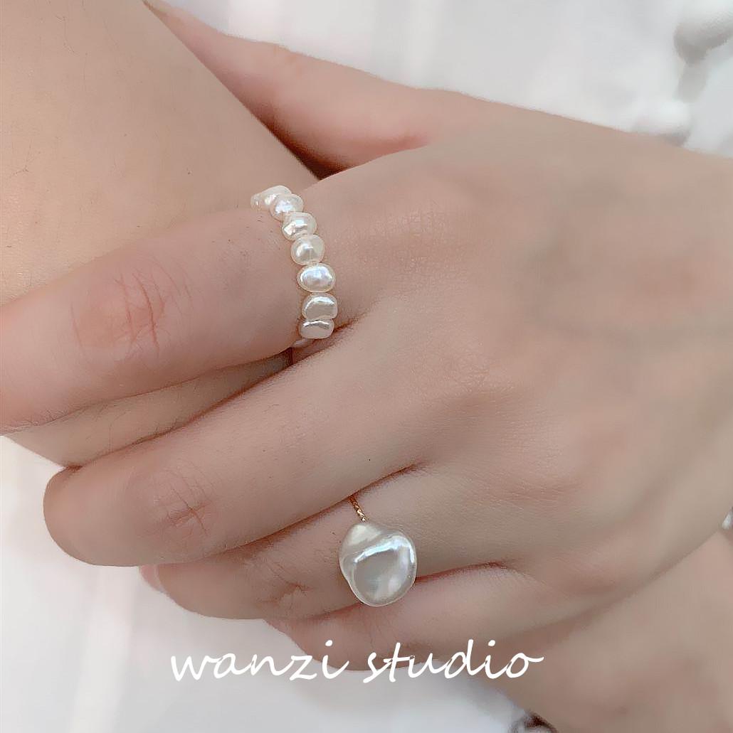 巴洛克异形天然珍珠美国包金戒指复古不褪色14K小众设计ins