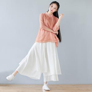 中式女装唐装盘扣上衣真丝棉改良汉服文艺复古中国风茶服女禅意夏