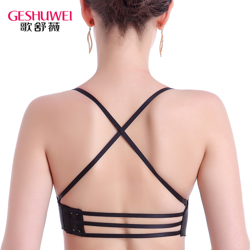 Cross shoulder strap back bra thick seamless no steel ring sexy gathered small bra open back hanging neck womens underwear