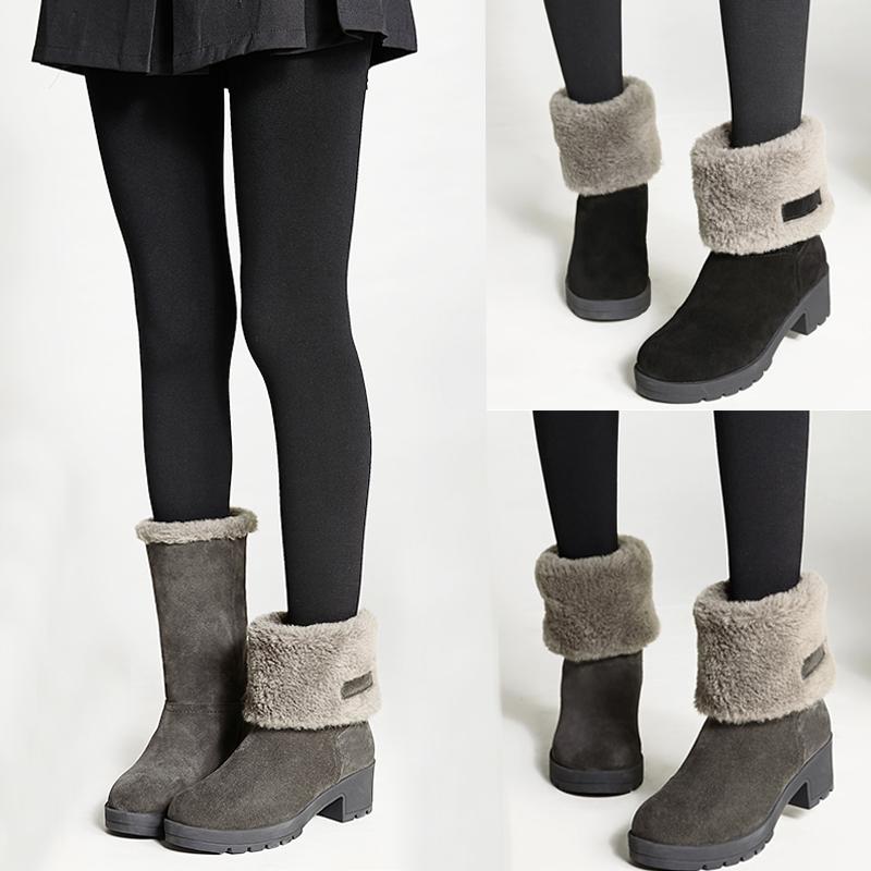 雪地靴女2019新款时尚加厚底保暖棉鞋女冬加绒真皮防水防滑中筒靴