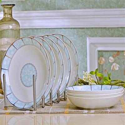 景德镇家用陶瓷圆形菜盘托盘创意简约牛排盘子窝盘饭盘 碗碟套装
