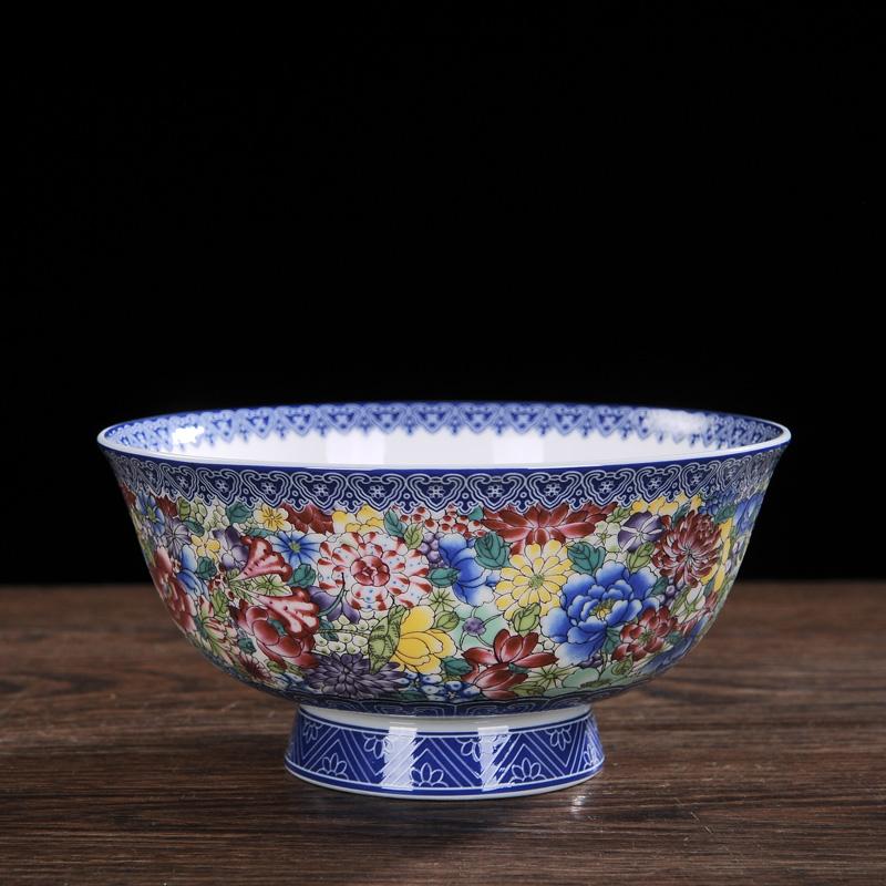 景德镇陶瓷6英寸碗单个高脚防烫泡面碗吃饭米饭碗碟家用仿古寿碗图片