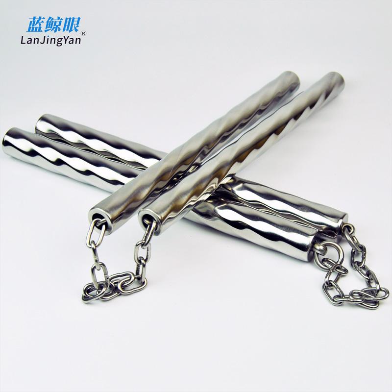 不锈钢防滑双节棍儿童成人女士表演实战练习用螺纹麻花-螺纹钢(lanjingyan旗舰店仅售18.9元)