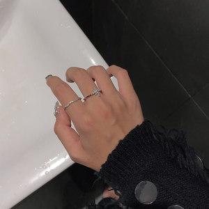八芒星 戒指女ins潮人韩国个性时尚精致锆石开口可调节食指环J222