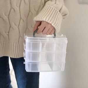 领1元券购买3层18格塑料透明收纳盒子戒指盒子