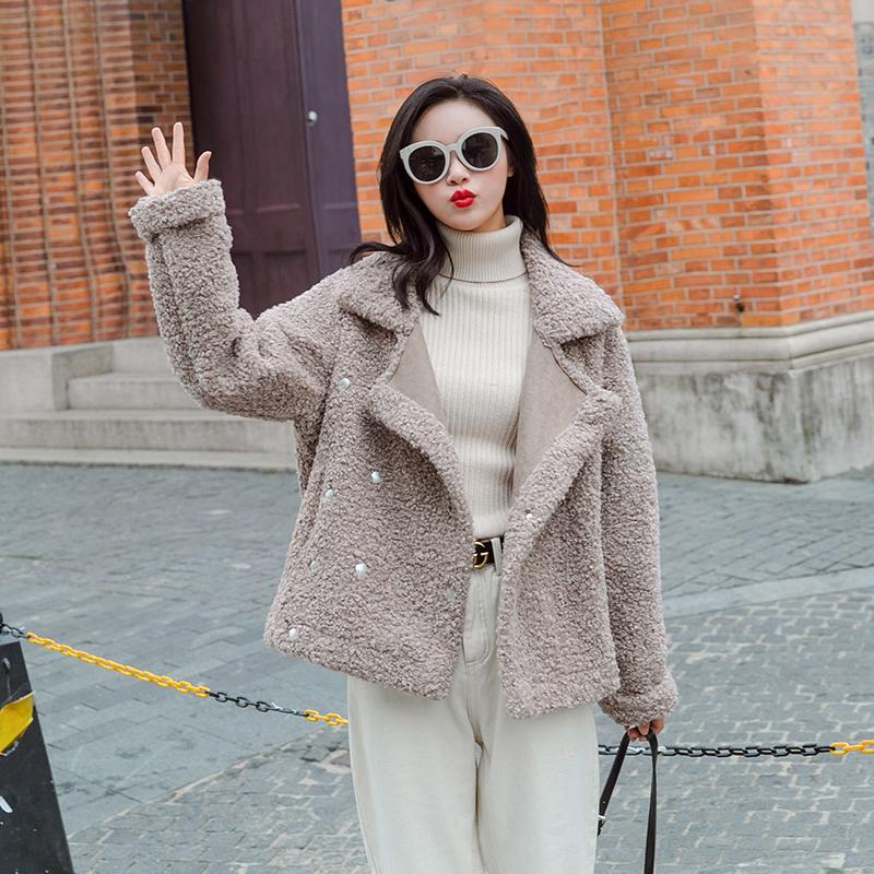 2018秋冬季西装翻领短款毛绒休闲皮毛一体洋气外套夹克女飞行服