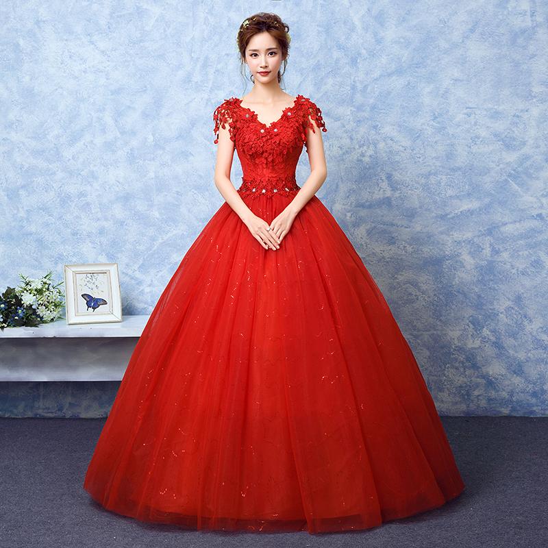 婚纱礼服2019新款韩式一字肩红色大码双肩蕾丝修身显瘦简约婚纱夏