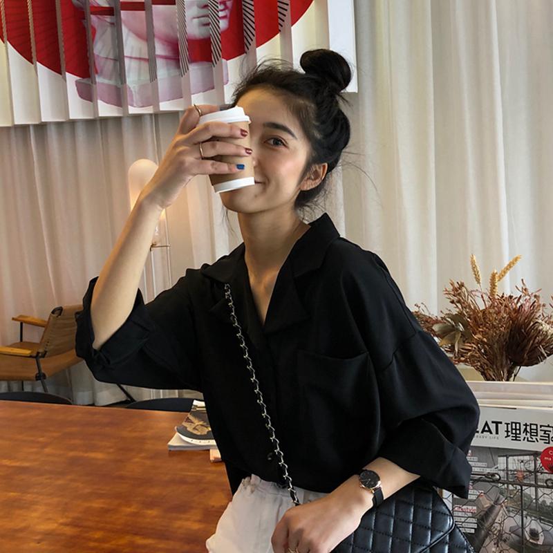 春装2020新款韩版宽松长袖衬衫女装设计感小众衬衣洋气百搭上衣潮图片