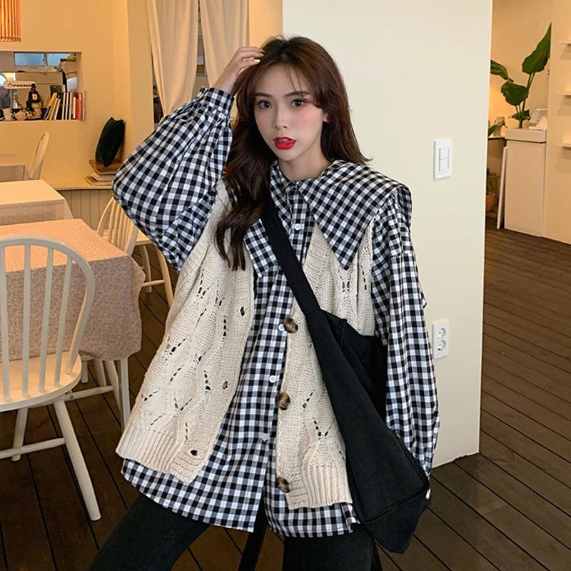初秋女套装2019新款韩版马甲衬衫36.98元包邮