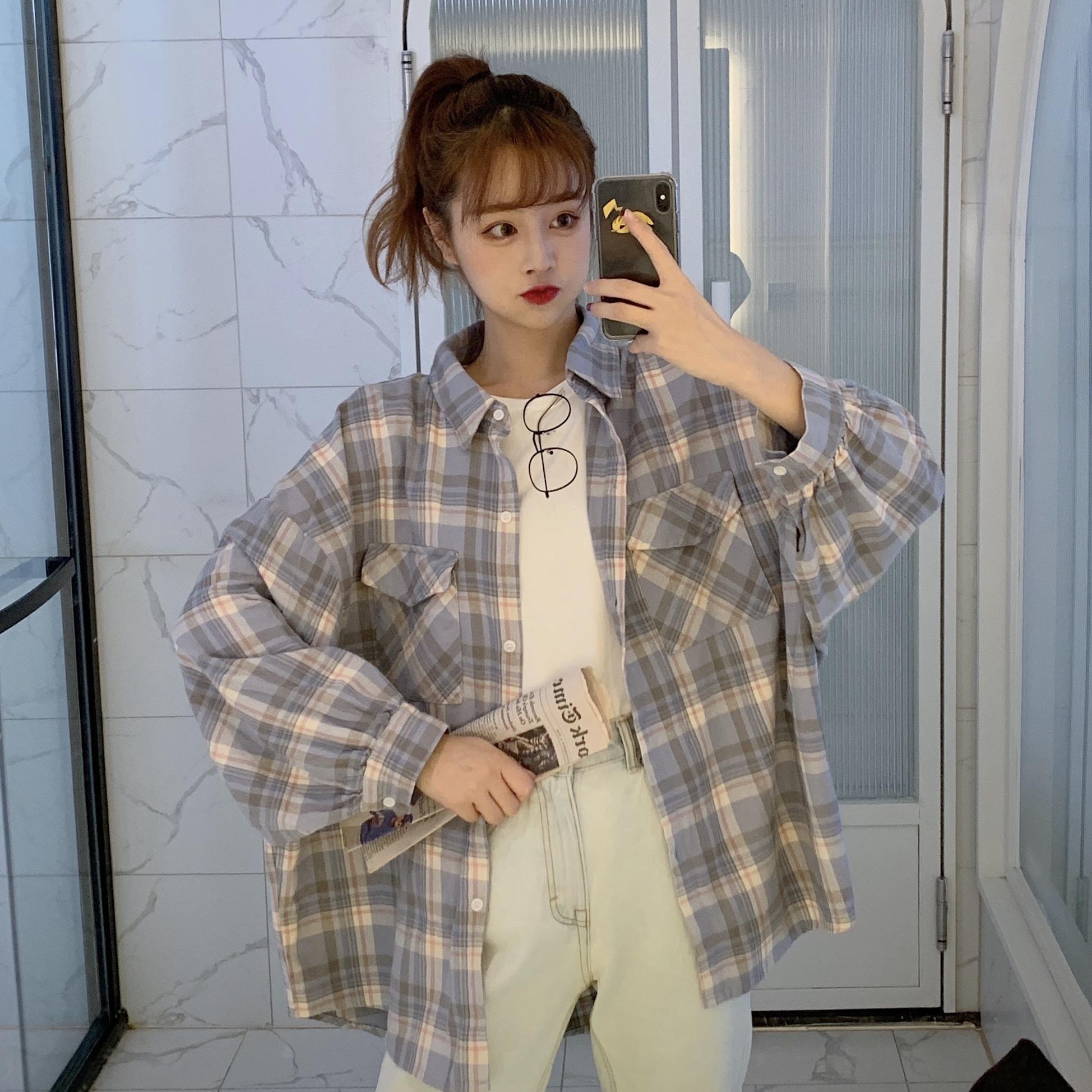 衬衣女设计感小众春秋2019新款韩版宽松长袖格子衬衫百搭外套上衣