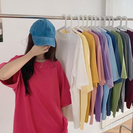 网红纯色短袖T恤女夏季2020年新款韩版宽松纯棉中长款ins超火上衣