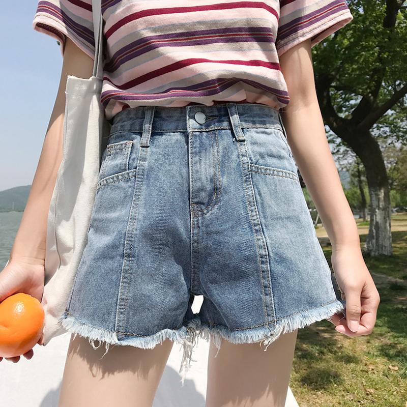 夏季女装2018新款韩版毛边牛仔裤宽松阔腿裤显瘦高腰短裤学生热裤