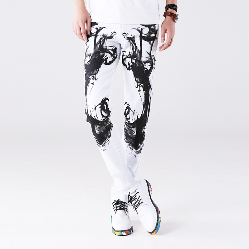 Spring and summer Chinese style splash ink printed jeans mens trend elastic personality pure cotton slim Pants White