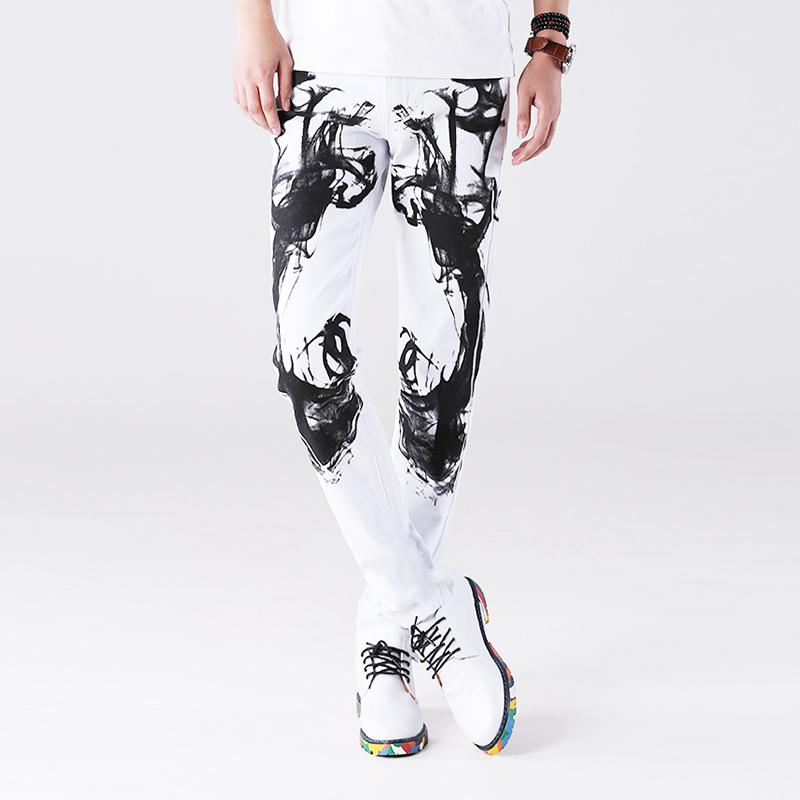 春夏款中国风泼墨印花牛仔裤男潮弹力个性纯棉修身显瘦小脚裤白色