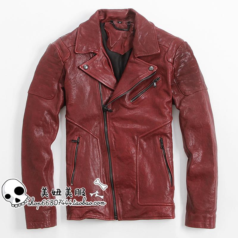 Мужская красная кожа кожа растительного дубления овчины ошейник кожа обрезается куртку тонкий кожаный панк тепловоз ветер