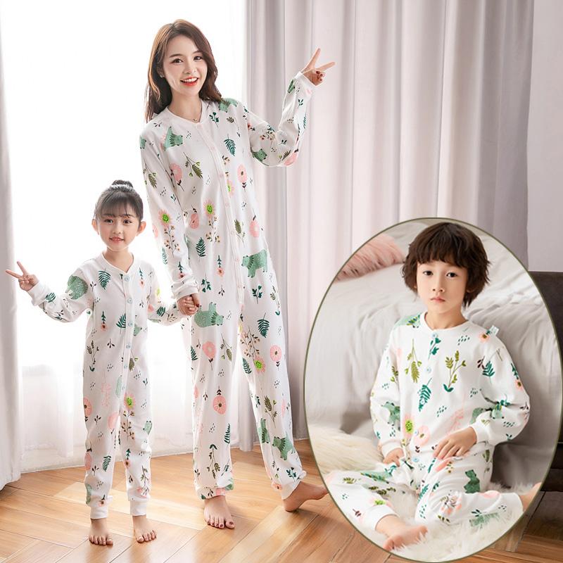 亲子装连体睡衣长袖 儿童纯棉 秋季母子大童女童春秋棉女后脱如厕