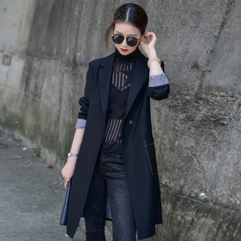 黑色女西服上衣长袖百搭纯色暗扣宽松休闲女士小西装外套女中长款