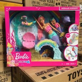 正品芭比娃娃美人鱼育婴师套装FXT25女孩过家家美人鱼滑滑梯玩具
