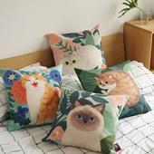 妙吉MEWJI原创插画抱枕可爱猫咪棉麻植物喵星人靠垫沙发床头腰枕