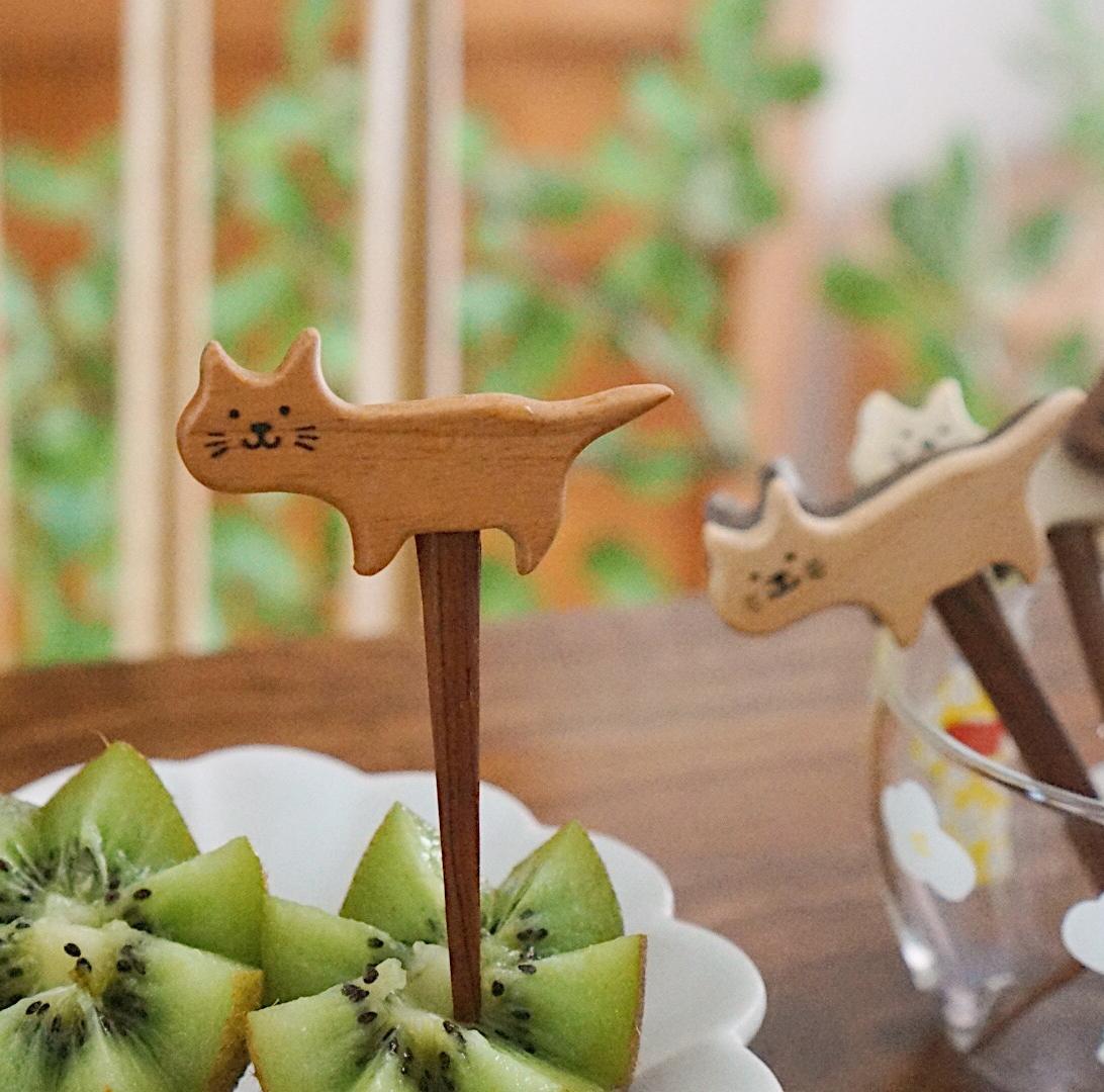 mewji I 木器 喵有型手作猫咪可爱水果叉儿童家用叉日系水果签