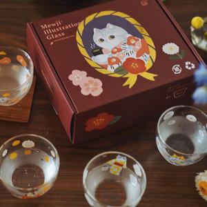 """妙吉mewji""""猫之四季""""可爱玻璃杯"""