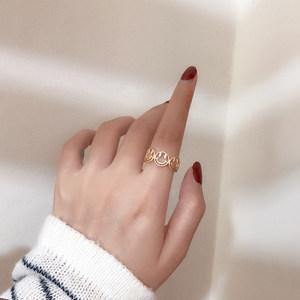 日系轻奢韩国时尚简约个性网红哑光金可调节食指笑脸戒指女ins潮