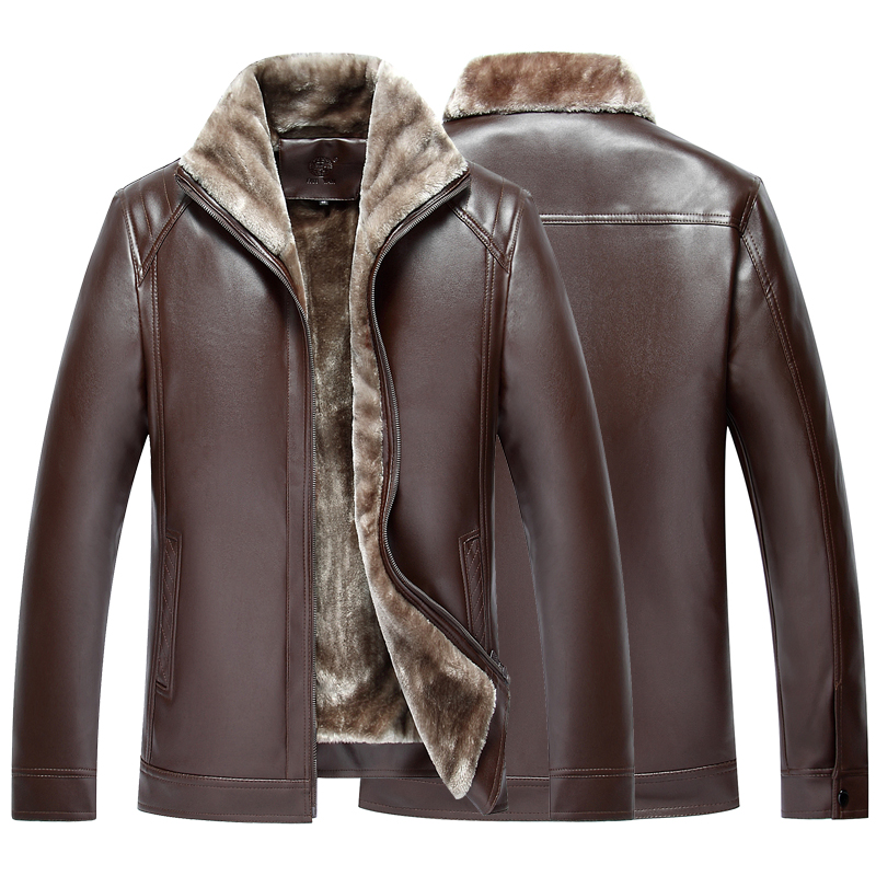 Spring and autumn mens leather 2020 new Lapel top thin middle-aged and old dads leather jacket loose coat