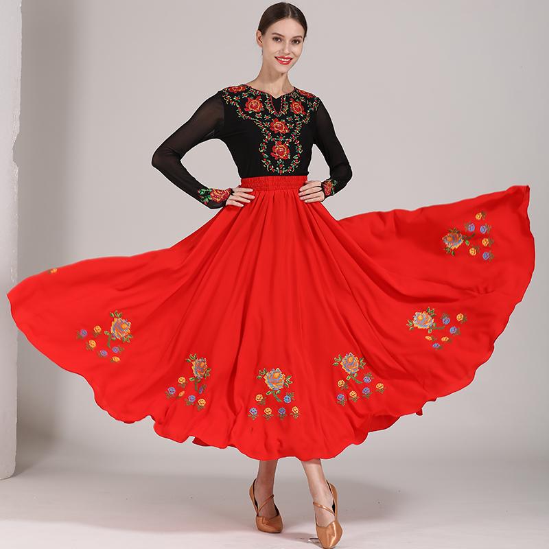 新疆舞蹈服半身大摆裙子带钻绣花上衣女士练功服维族尔族特色服装