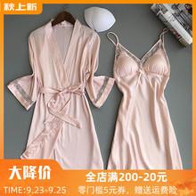 维密情维多性感睡衣女夏蕾丝真丝绸薄款两件套带胸垫吊带睡裙聚拢