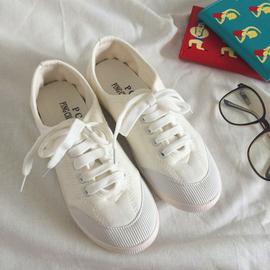 韩国ulzzang小白鞋女夏季清新百搭系带帆布鞋学院风平底帆布鞋女图片