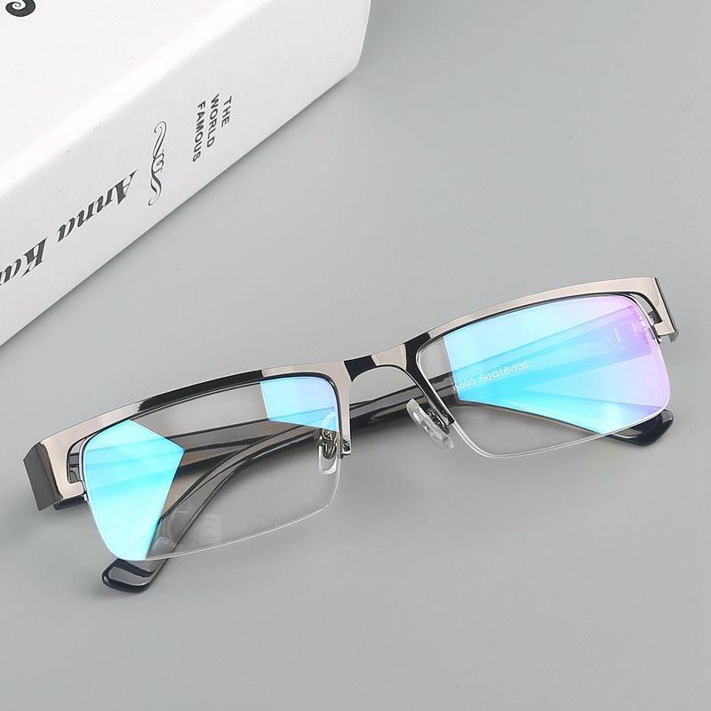 近视眼镜防蓝光防辐射眼镜护目镜平光镜0-600度金属黑框半框眼镜