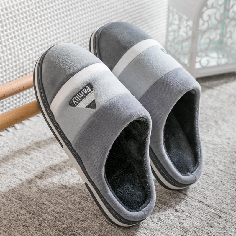 男士棉拖鞋冬季厚底室内保暖防滑家居家用情侣毛拖鞋女托鞋冬2019