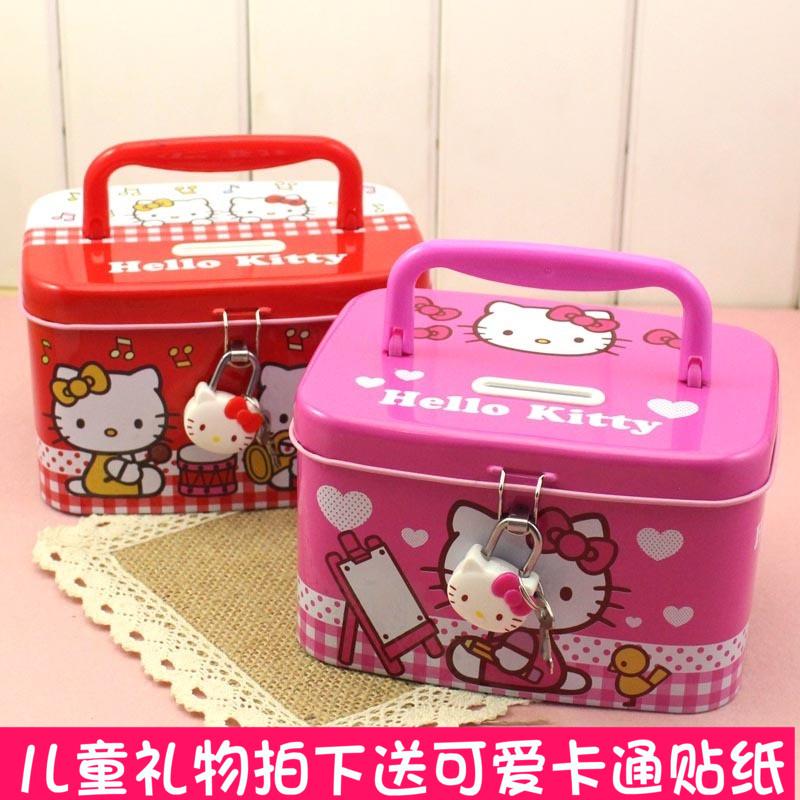 hello kitty可爱创意储蓄罐卡通带锁小女孩带锁存钱罐儿童礼物