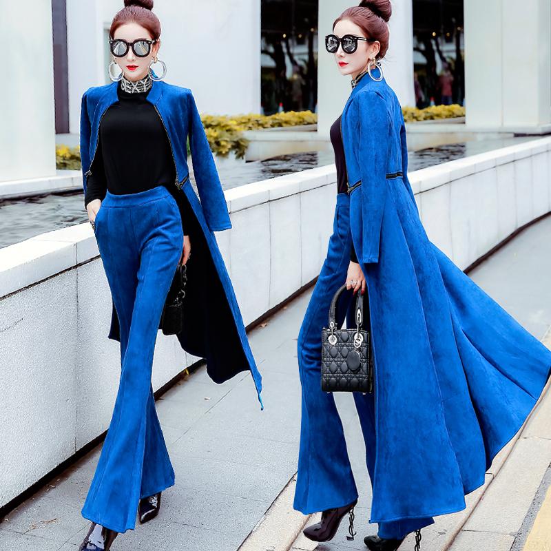 2018秋冬新款欧美大牌修身显瘦鹿皮绒女装两件套高腰长裤时尚套装