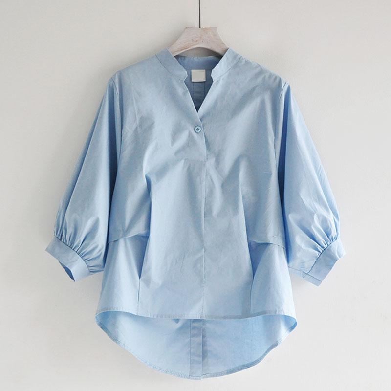 减龄简约前短后长不规则上衣 V领七分灯笼袖宽松韩范白色女式衬衣