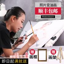 猫咪简约现代手法包邮店长作品可定制动物油画手绘狗狗原创油画