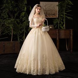 婚纱2019新款新娘气质小个子香槟色长袖森系齐地超仙简约梦幻2020图片