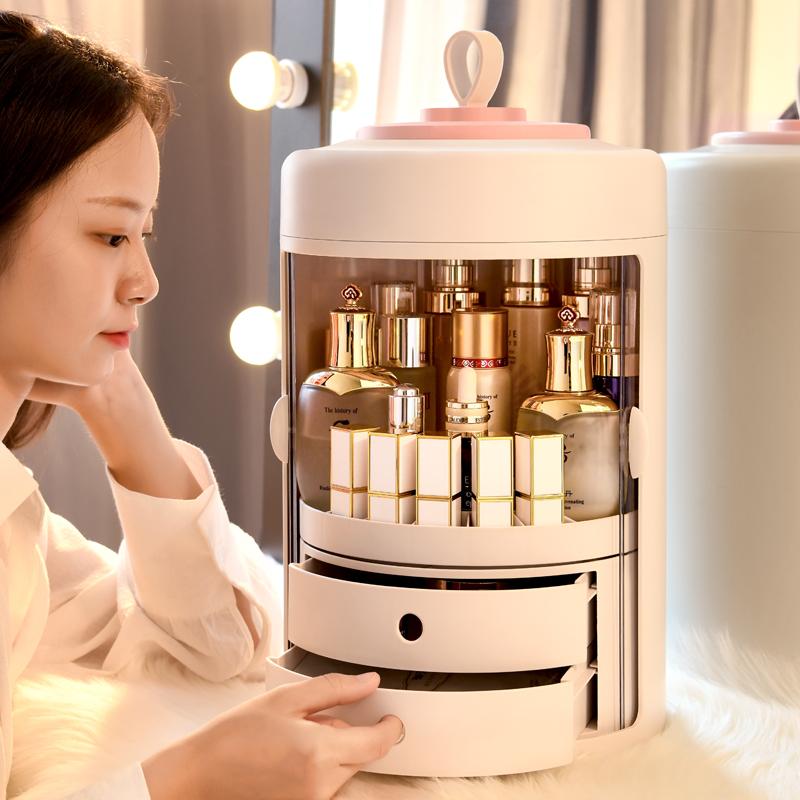 网红旋转化妆品收纳盒防尘桌面家用便携梳妆盒大容量护肤品置物架