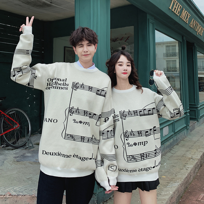 Video autumn and winter new casual couples sweater round neck Korean mens and womens note bottoming shirt my86-p75