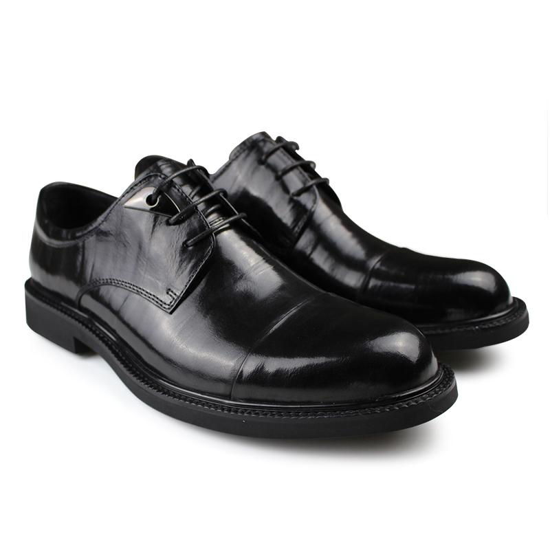 高档皮质!新款男士商务正装皮鞋英伦三接头德比鞋大气圆头男婚鞋
