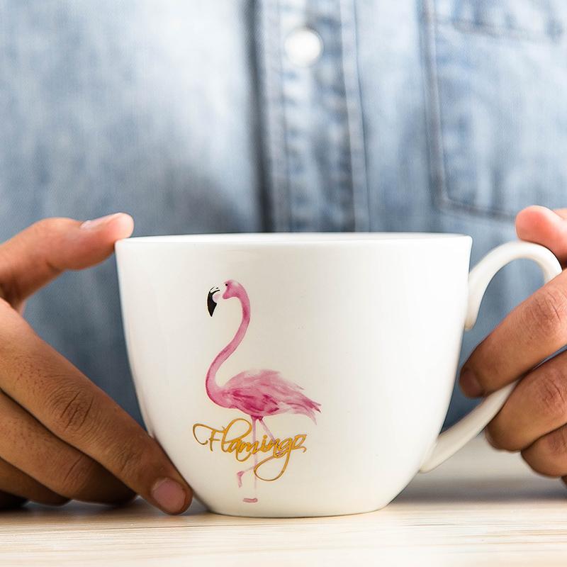 马克杯大容量陶瓷杯子早餐泡面杯创意简约个性骨瓷火烈鸟卡通北欧
