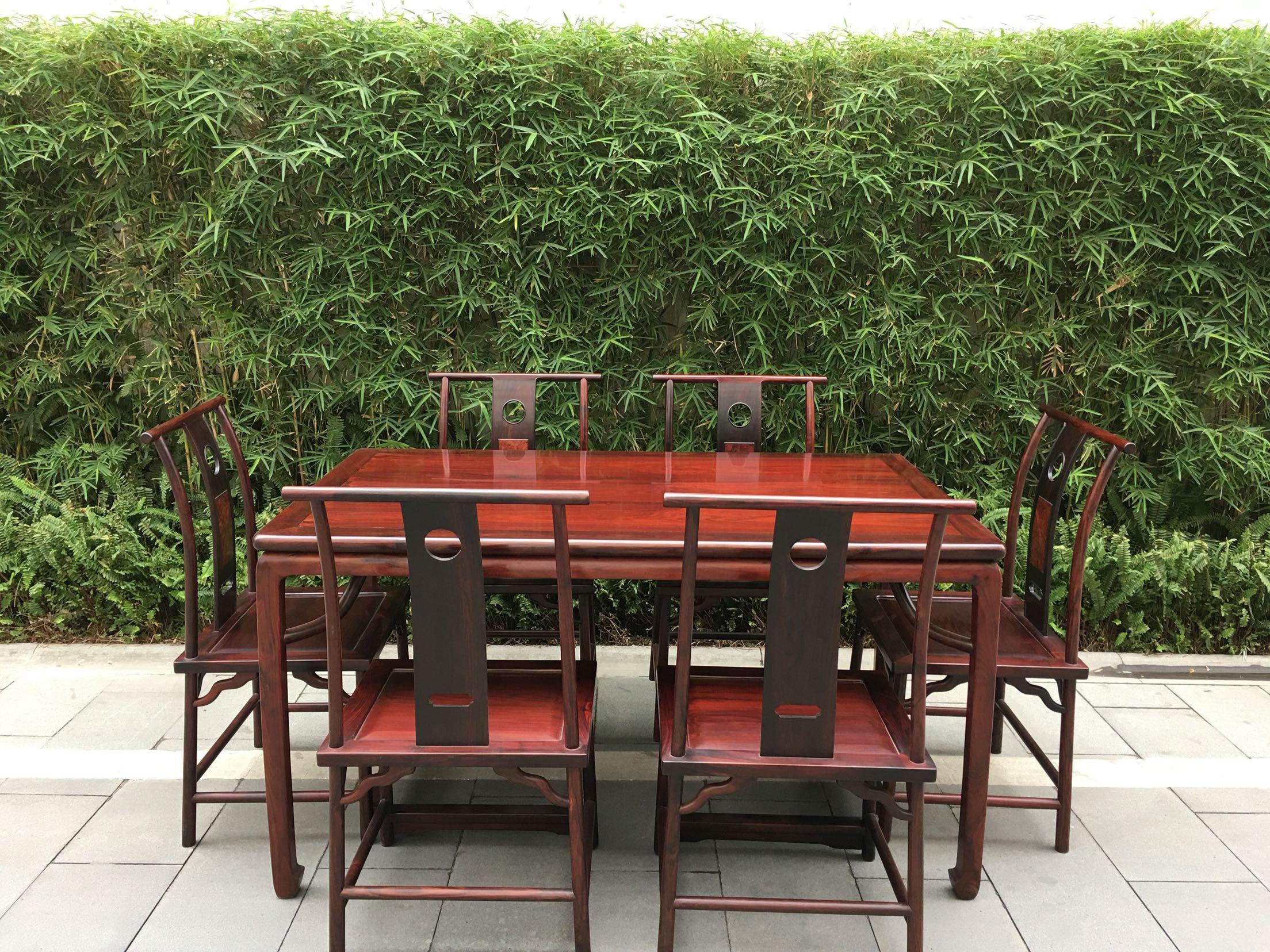 大红酸枝(交趾黄檀)霸王枨餐桌七件套 长方形