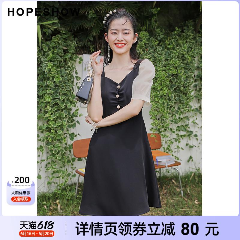 【薇娅618专享】红袖轻熟风连衣裙夏季新款女装网纱泡泡袖收腰裙