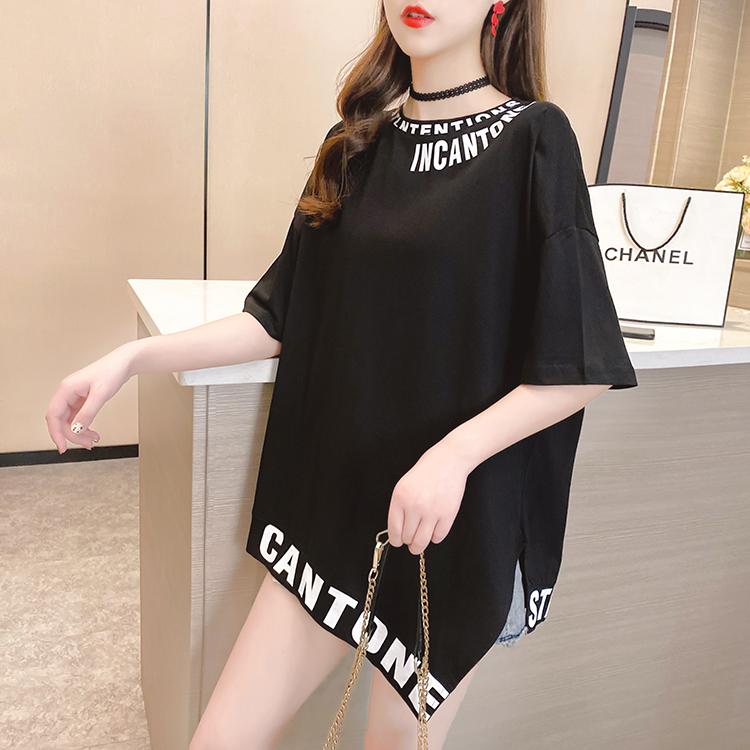 实拍~夏装新款韩版大码女装宽松短袖t恤字母印花圆领胖mm半袖上衣